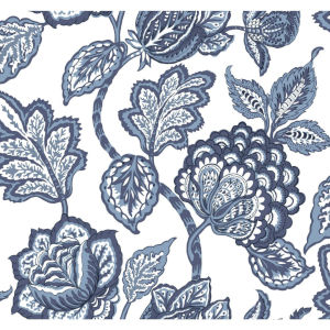 Conservatory White and Blue Midsummer Jacobean Wallpaper
