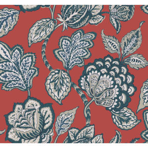 Conservatory Red and Blue Midsummer Jacobean Wallpaper