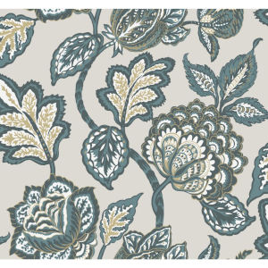 Conservatory Taupe and Turq Midsummer Jacobean Wallpaper