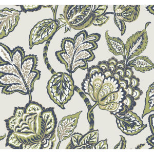Conservatory Lime and Navy Midsummer Jacobean Wallpaper