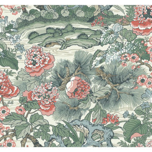 Conservatory Green  and  Pink Dynasty Floral Branch Wallpaper