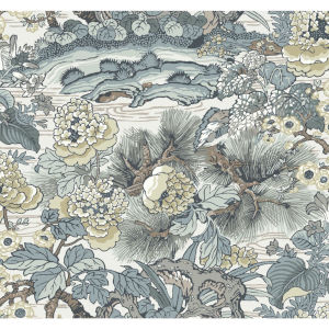 Conservatory Blue Gray Dynasty Floral Branch Wallpaper