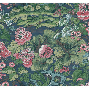 Conservatory Blue and Green Dynasty Floral Branch Wallpaper