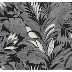 Conservatory Charcoal Palm Silhouette Wallpaper