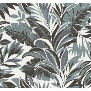 Conservatory Turq and Charcoal Palm Silhouette Wallpaper