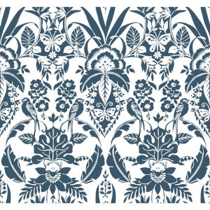 Conservatory Indigo Botanical Damask Wallpaper