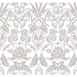 Conservatory Gray Botanical Damask Wallpaper