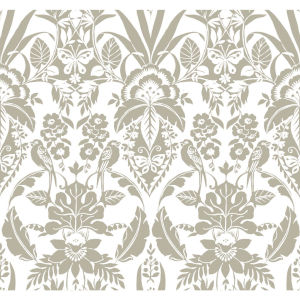 Conservatory Taupe Botanical Damask Wallpaper