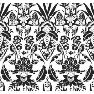Conservatory Black Botanical Damask Wallpaper