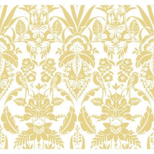 Conservatory Yellow Botanical Damask Wallpaper