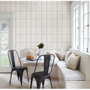 Simply Farmhouse Gray and White Plaid Wallpaper