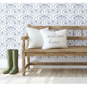Simply Farmhouse Blue and White Folksy Floral Wallpaper