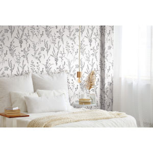 Simply Farmhouse Black and White Wildflower Sprigs Wallpaper