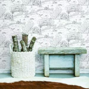 Simply Farmhouse Black and White Pasture Toile Wallpaper