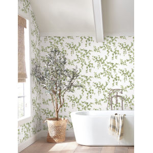 Simply Farmhouse Green and White Creeping Fig Vine Wallpaper