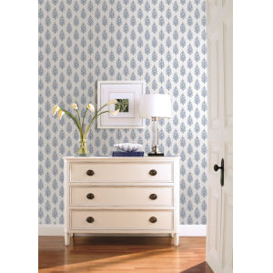 Simply Farmhouse Blue and White Paisley On Calico Wallpaper