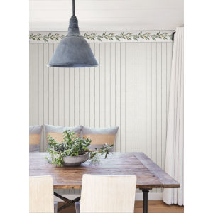 Simply Farmhouse Black and Cream In Stitches Stripe Wallpaper