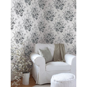 Simply Farmhouse White and Gray Heritage Rose Wallpaper