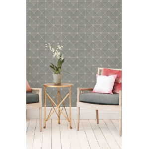 Geometric Resource Library Grey Dazzling Diamond Sisal Wallpaper