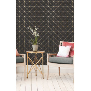 Geometric Resource Library Gold Dazzling Diamond Sisal Wallpaper