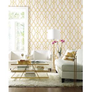 Geometric Resource Library Yellow Hourglass Trellis Wallpaper