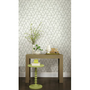 Grandmillennial White Green Pathways Pre Pasted Wallpaper