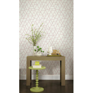 Grandmillennial White Red Pathways Pre Pasted Wallpaper