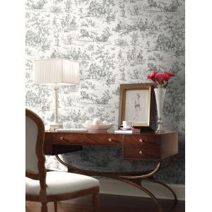 Grandmillennial Gray Seasons Toile Pre Pasted Wallpaper
