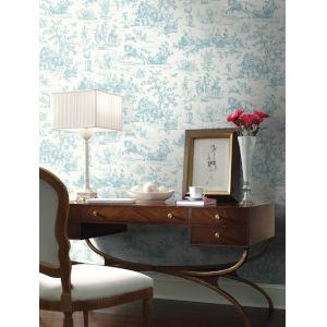 Grandmillennial Teal Seasons Toile Pre Pasted Wallpaper