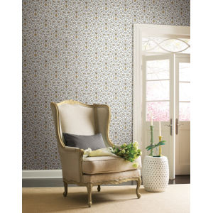 Grandmillennial Yellow Vintage Blooms Pre Pasted Wallpaper