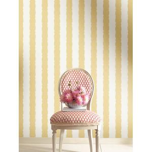 Grandmillennial Yellow Scalloped Stripe Pre Pasted Wallpaper