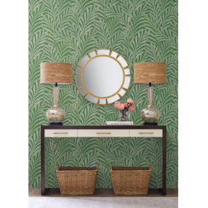 Ronald Redding Handcrafted Naturals Green Tea Leaves Stripe Wallpaper