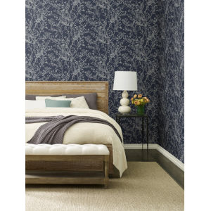 Ronald Redding Handcrafted Naturals Navy Budding Branch Silhouette Wallpaper