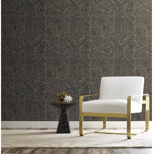 Ronald Redding Handcrafted Naturals Black and Brown Tribal Print Wallpaper