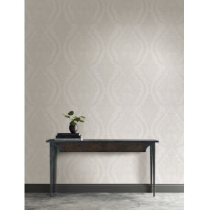 Ronald Redding Handcrafted Naturals White and Beige Heritage Damask Wallpaper