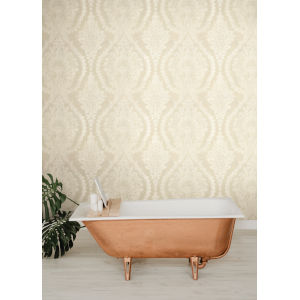Ronald Redding Handcrafted Naturals Beige and White Heritage Damask Wallpaper