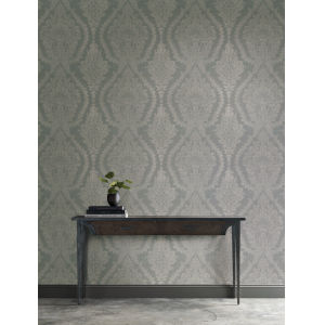 Ronald Redding Handcrafted Naturals Silver and Light Gray Heritage Damask Wallpaper