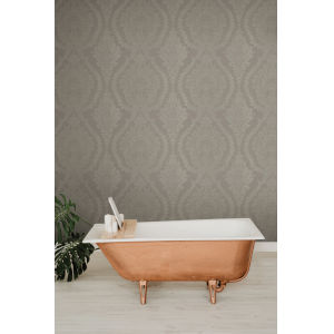 Ronald Redding Handcrafted Naturals Dark Gray Heritage Damask Wallpaper
