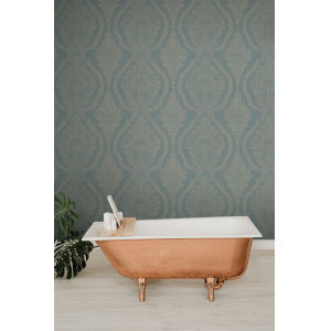Ronald Redding Handcrafted Naturals Blue Heritage Damask Wallpaper
