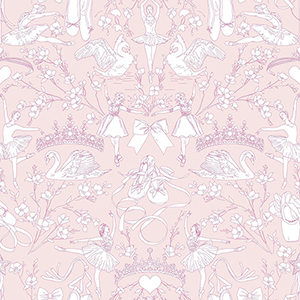 A Perfect World Bright Pink Ballet Toile Wallpaper