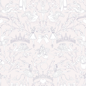 A Perfect World Pearl and Pink Ballet Toile Wallpaper