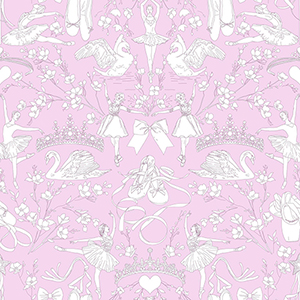 A Perfect World Orchid Ballet Toile Wallpaper