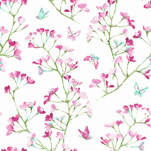 A Perfect World Magenta and Green Watercolor Branch Wallpaper
