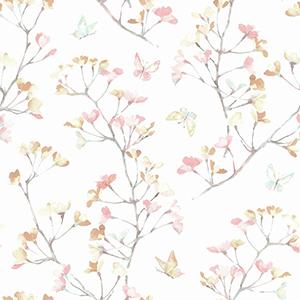A Perfect World Peach and Aqua Watercolor Branch Wallpaper