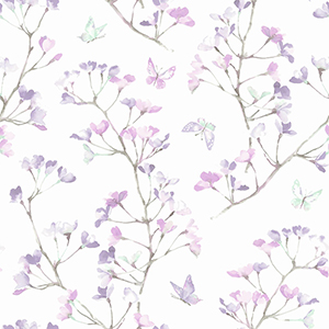 A Perfect World Purple Watercolor Branch Wallpaper