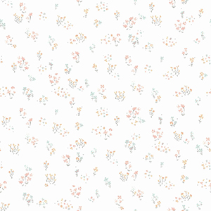 A Perfect World Peach and Aqua Watercolor Floral Bouquet Wallpaper