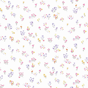 A Perfect World Pink, Orange and Purple Watercolor Floral Bouquet Wallpaper