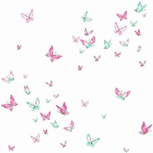 A Perfect World Magenta and Green Watercolor Butterflies Wallpaper