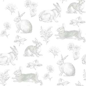 A Perfect World Grey Bunny Toile Wallpaper