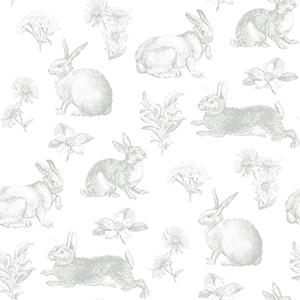 A Perfect World Grey Bunny Toile Wallpaper